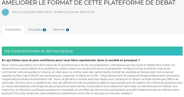 Le site du grand débat n'a (volontairement) pas profité des outils numériques à sa